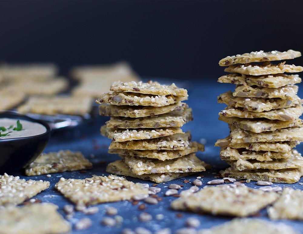 Gluten-Free Tahini Garbanzo Homemade Vegan Crackers