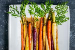 Maple glazed roasted rainbow carrots