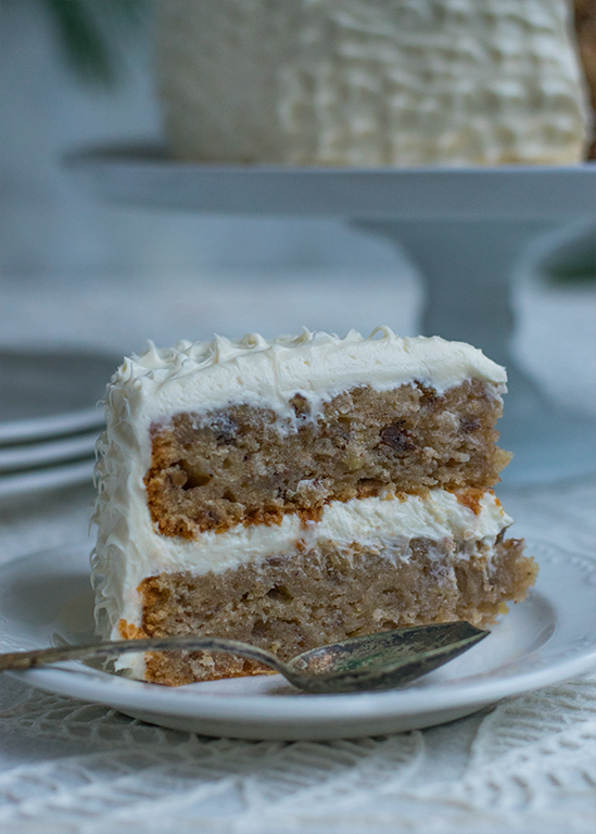 The hummingbird cake, gluten-free with cream cheese frosting