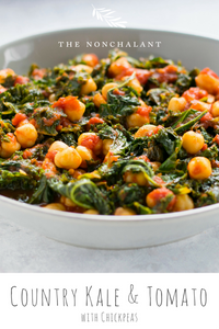 country kale and tomatoes stew with chickpeas