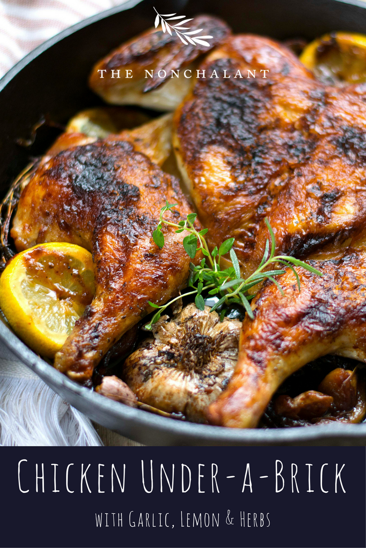 Roasted chicken under a brick