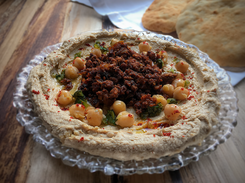 Hummus with spiced ground beef topping