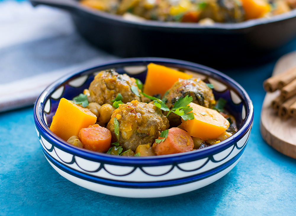 Moroccan Fall Stew with Butternut Squash & Turkey Meatballs