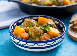 Moroccan Fall Stew with Butternut Squash & Turkey Meatballs