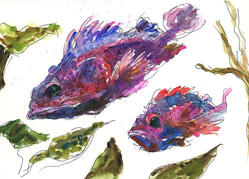 Digital Copy for Printing - red purple fish family