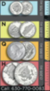 dime quarter half dollar markers