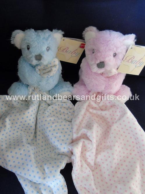 Suki Baby Teddy Bear Soft Toy Comforter Blanket Blue or Pink