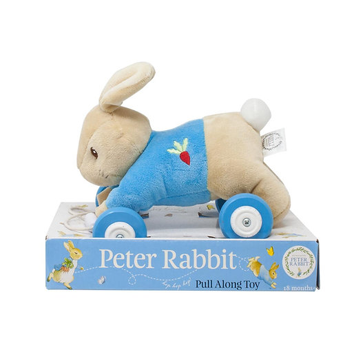 My First Peter Rabbit Soft Plush Wooden Baby Boys Pull a Long Toy