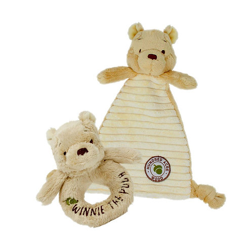 Hundred Acre Wood Winnie the Pooh Comforter and Rattle Soft Toy Baby Gift Set