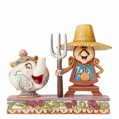 Disney Traditions Mrs Potts and Cogsworth Figurine Workin Round the Clock