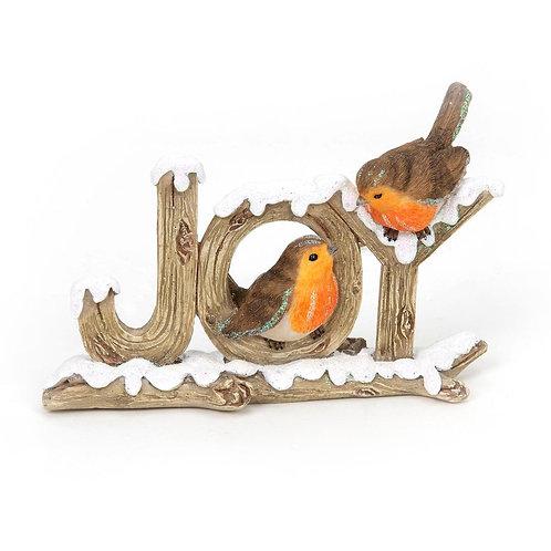 Hand Painted Two Robins Bird Christmas Figurine Joy
