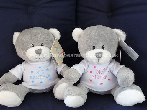 "Suki Baby Grey 6"" Teddy Bear Soft Toy Big Brother or Sister"