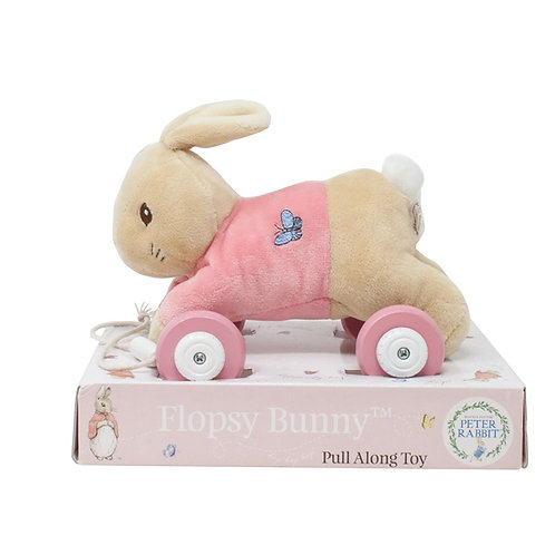 My First Flopsy Bunny Rabbit Soft Plush Wooden Baby Girls Pull a Long Toy