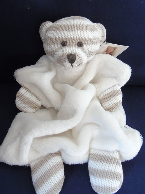 Bambino Babys Knitted Cotton Teddy Bear Comforter Blanket Soft Toy