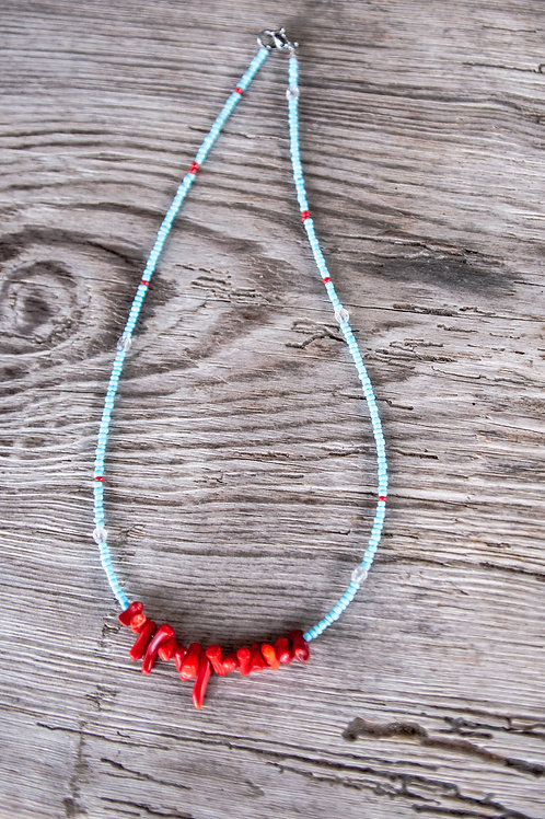 Red, white and blue necklace - Coral