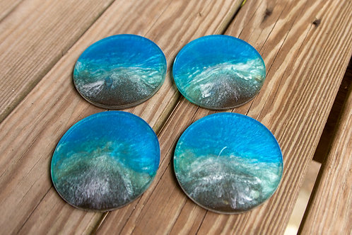 Round Beach resin coasters with sand