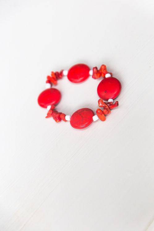Red Coral Stretch Bracelet