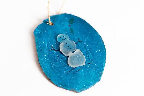 Sea glass Ornament - Snowman