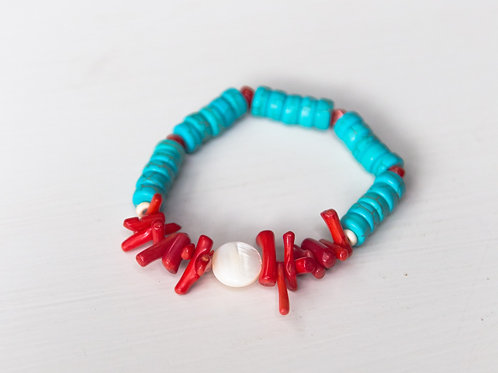 Teal with Red Coral Stretch Bracelet