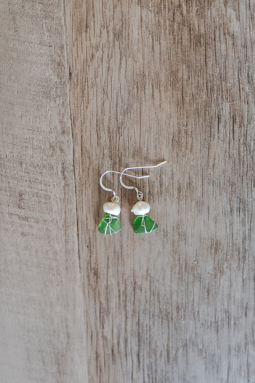 Green Seaglass & Freshwater Pearl Earrings, Sterling Silver Hoops and Wire