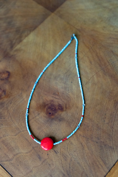 Blue with red pendant