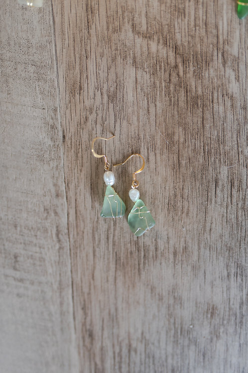 Aqua & Freshwater Pearl Seaglass Earrings, Gold Plate Hoops and Wire