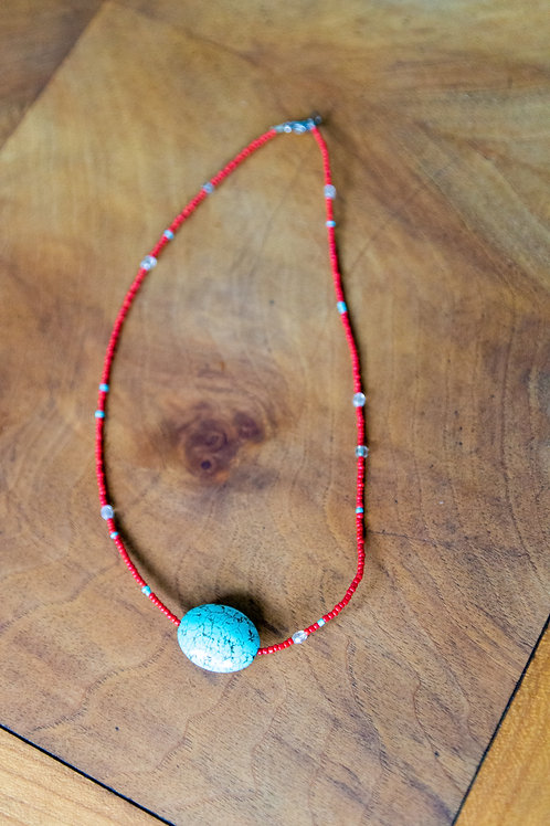 Red with Turquoise Pendant