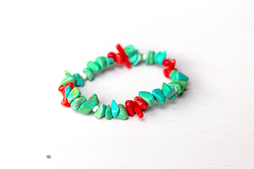 Teal with Red Coral Accent Stretch Bracelet