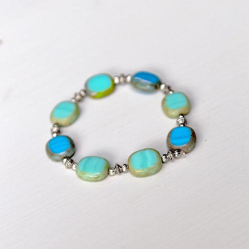 Teal and Blue Stretch Bracelet