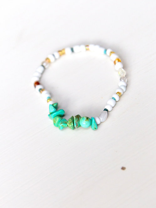 Multicolor with Teal Accent Stretch Bracelet
