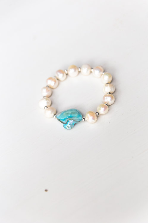 Faux Pearl with Teal Accent Stretch Bracelet