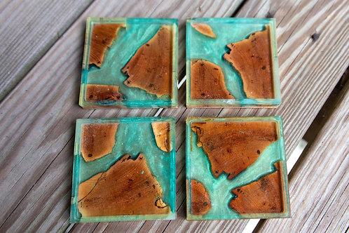 Aqua Oak Coasters