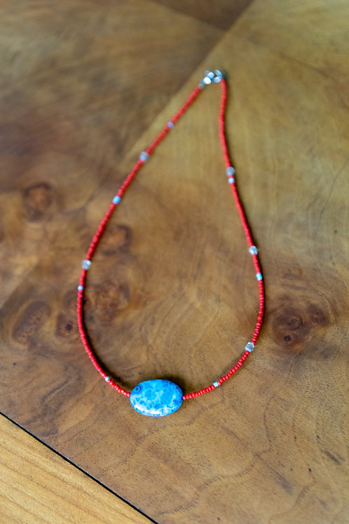 Red with Blue Pendant