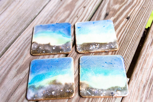 Square Beach resin coasters with shells