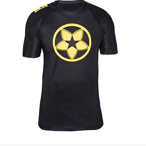 KNOXX Short Sleeve Rashguard- Mon- Blk/Yellow