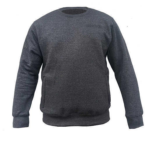 KNOXX Youth Crewneck Middleweight fleece with zipper side pockets-Charcoal Grey
