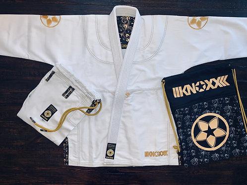 """KNOXX Women Jiu Jitsu """"Quest For Gold"""" White Gi"""