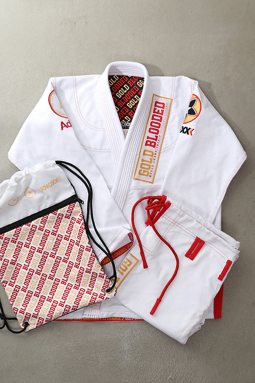 "KNOXX x Adapt Brand Women Jiu Jitsu ""Gold Blooded"" White Gi"