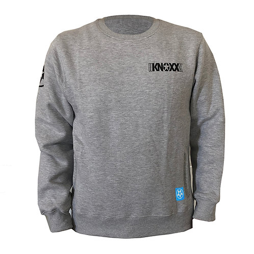 KNOXX Crewneck fleece with zipper side pockets- Gray
