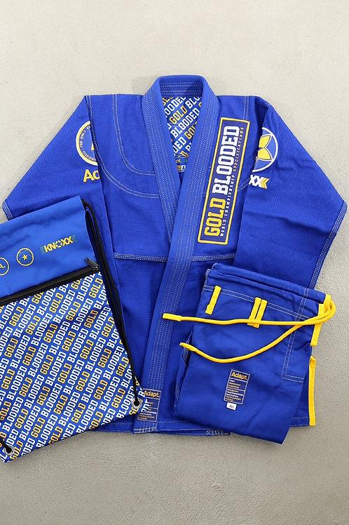 """Blue-KNOXX x Adapt Brand Youth Jiu Jitsu """"Gold Blooded"""" Blue/Yellow Gi"""