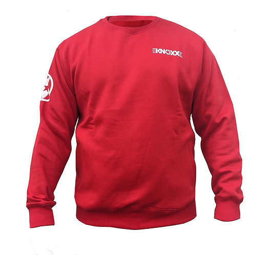 KNOXX Crewneck Middleweight fleece with zipper side pockets-Red