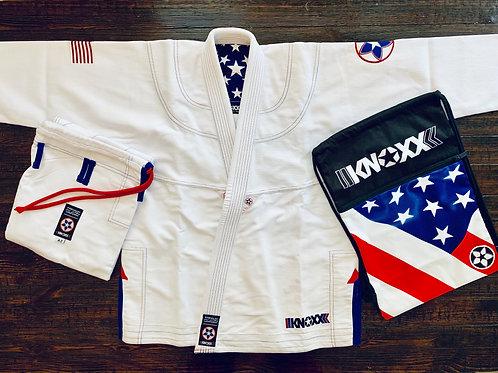 """KNOXX Women Jiu Jitsu """"Heritage Series - USA"""" White Gi"""