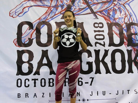 Kinaree Adkins with the double gold in Bangkok, Thailand