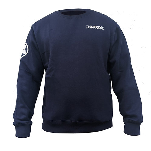 KNOXX Crewneck Middleweight fleece with zipper side pockets-Navy