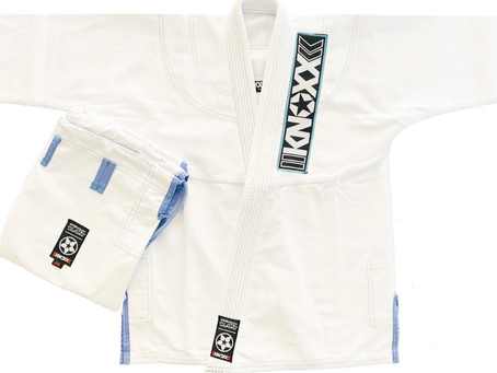 Our standard Gi, Kusari V2 now comes in white with baby blue accents and stitching.