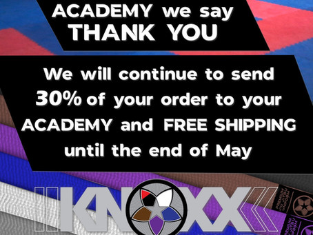 On Behalf of your Academy, We say THANK YOU - Donating 30% to your academy and Free Shipping