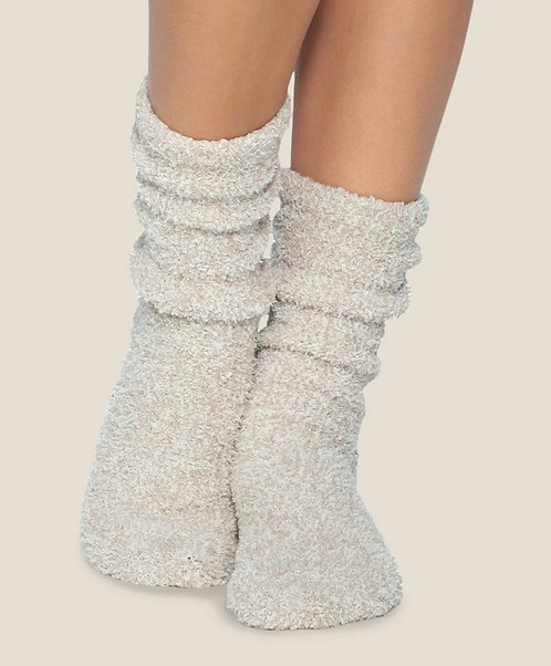 CozyChic Heathered Women's Socks - Stone / White