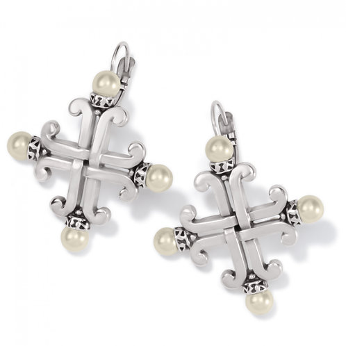Brighton -  Taos Pearl Cross Leverback Earrings