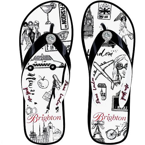 Brighton - Voyage Black Flip Flops