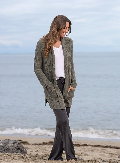 CozyChic Cable Cardi - Olive / Loden